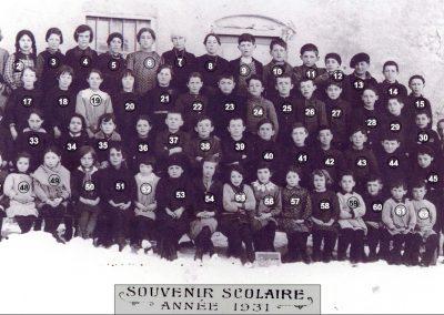 Écoliers et maître à Bessans en 1931